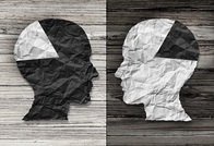 image representation of research spotlight article on predicting and quantifying stereotypes, depicted as two human heads with black and white sections looking at each other