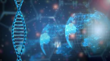 Illustration of DNA strands and globe