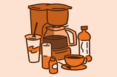 Coffee, tea, and other products with caffeine