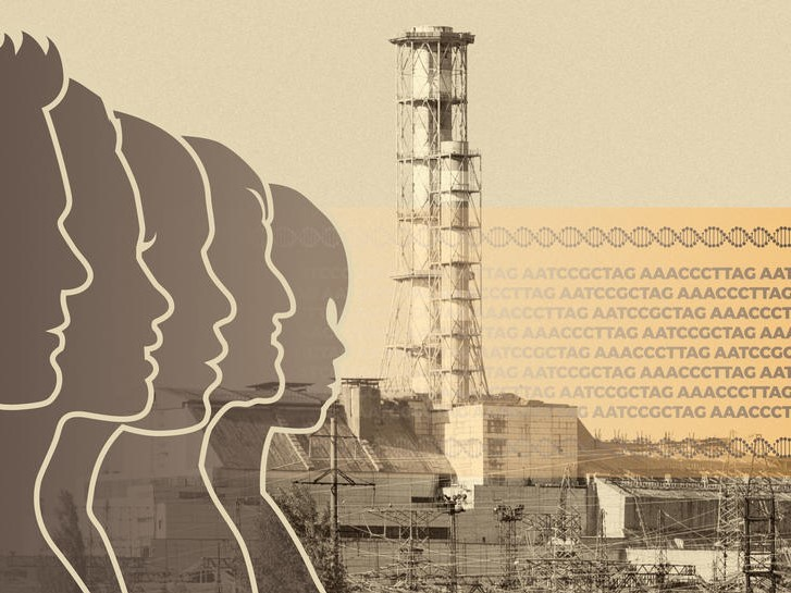 silhouettes of people in the foreground of a nuclear reactor