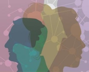 Multicolored head silhouettes