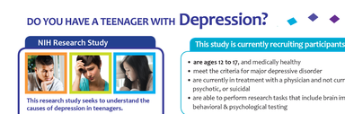 NIMH IRP Teen and Depression Study Flyer