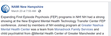 NAMI NH Facebook post about FEP