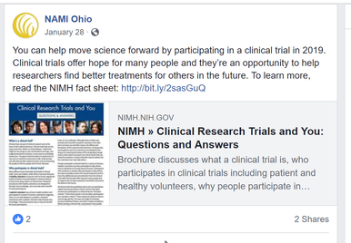 NAMI Ohio Facebook post about clinical trial participation
