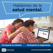 Spanish language Let's talk about mental health graphic