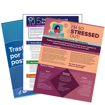 Cover images for PTSD, 5 Things, and I'm So Stressed Out brochures