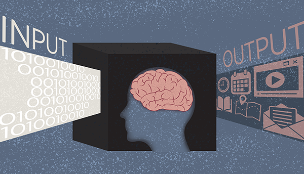 "Forensic science illustration shows a box with a human brain inside, with ""Input"" to the left and ""Output"" to the right."