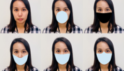A woman's face appears six times, each time wearing a different digitally applied mask shape.