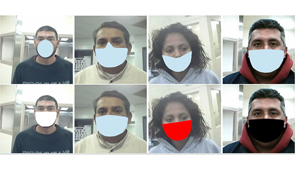 Eight face photos with artificial digital coverings in the shape of masks show variations used in the NIST study.