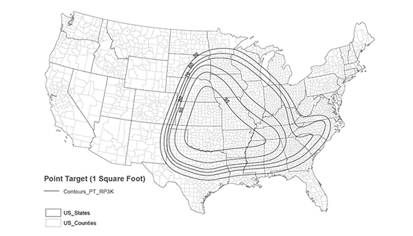 Tornado threat map of the U.S. has lines defining certain regions in the center of the country.
