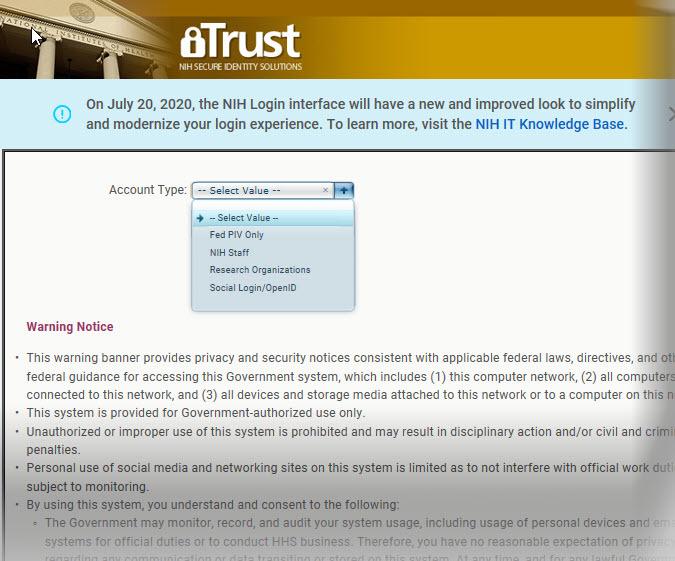 Current iTrust Log in screen