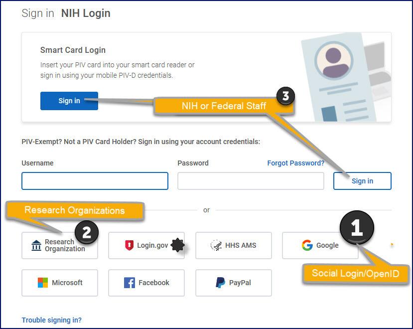 New NIH Login Screen