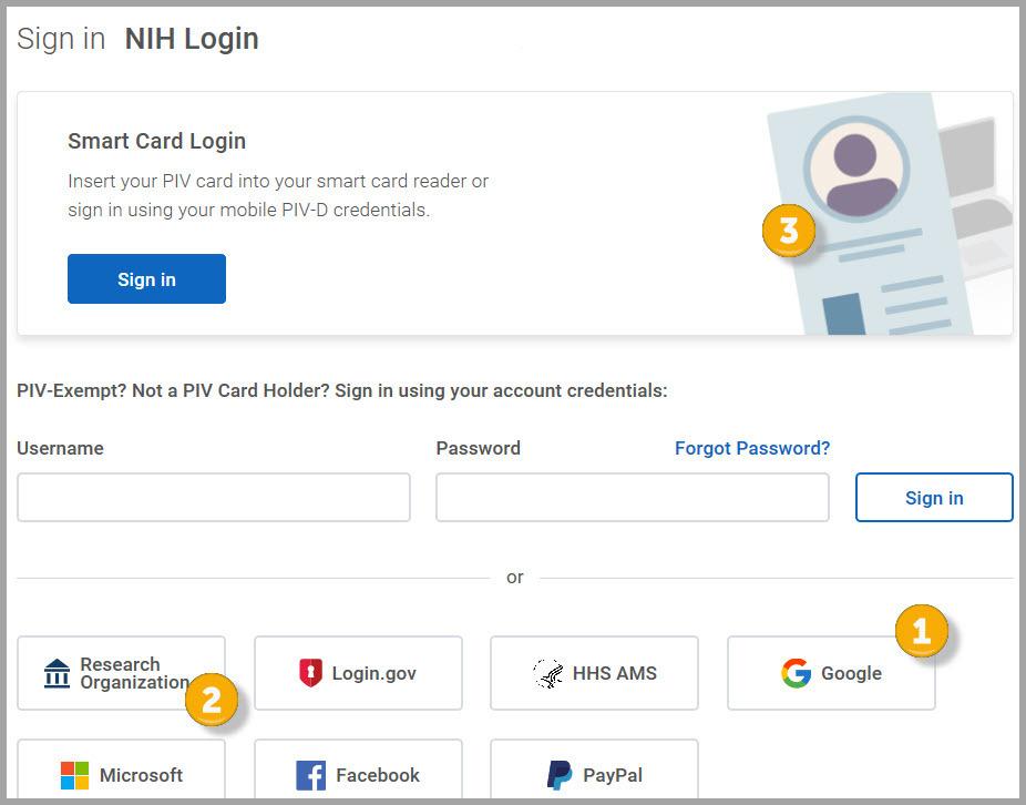 new NIH login