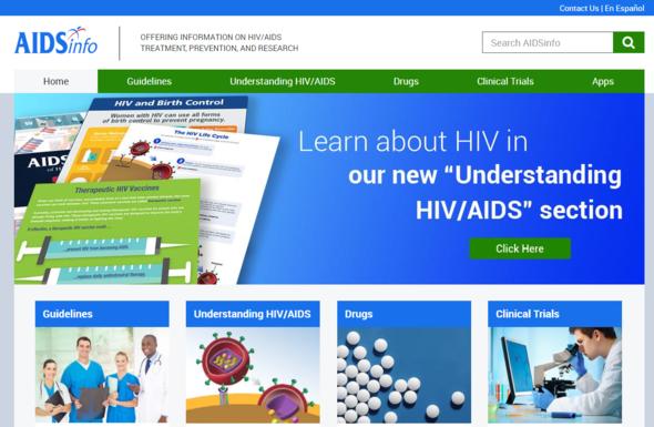 AIDSinfo homepage
