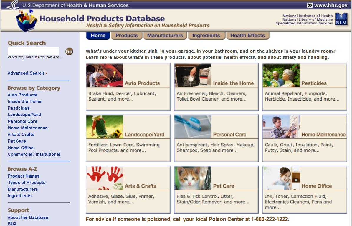 National Library of Medicine Household Products Database