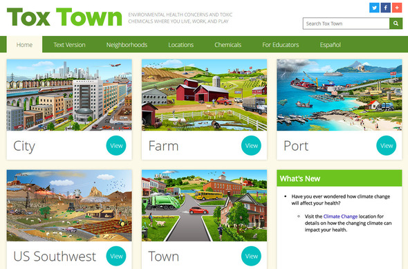 Tox Town homepage