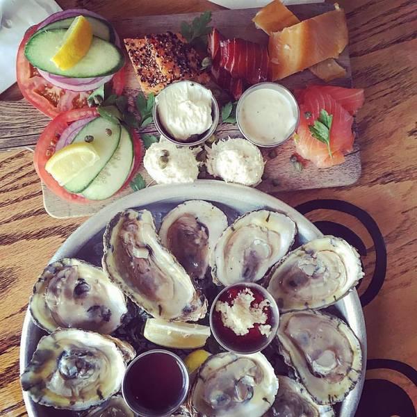 Oyster raw bar tray.