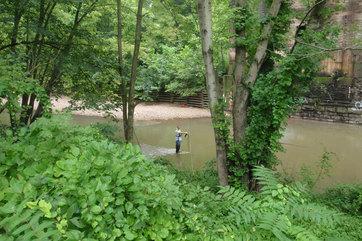 Taking measurements in the Patapsco River post dam removal
