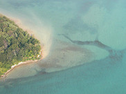 An aerial view of an island shore we're restoring on the Detroit River.
