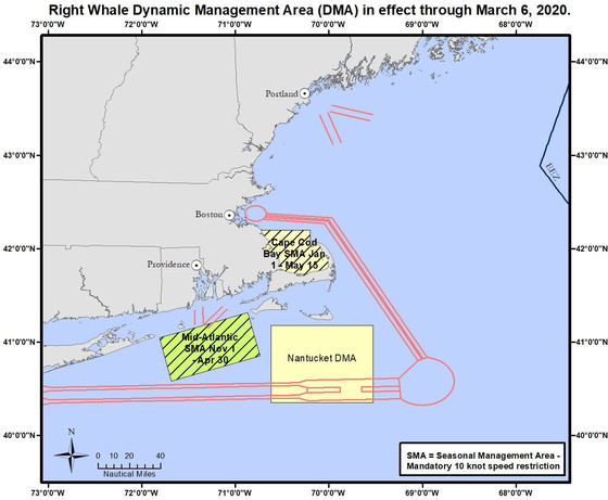 Yellow box marks slow speed zone south of Nantucket