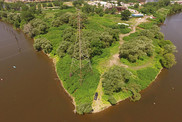 Aerial view of a restoration project site along the Buffalo River