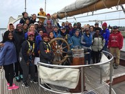 The Woods Hole Partnership Education Program (PEP) students and ship's crew aboard the SSV Corwith Cramer in 2018.