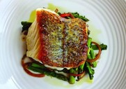 crispy black sea bass with asparagus, chervil, red onion, and aged balsamic vinegar