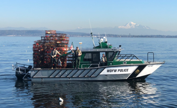 Enforcement vessel with recovered traps.