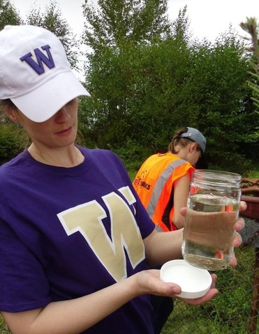 Students research microplastics in the lower Puyllap River Watershed.