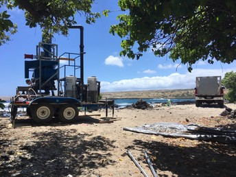Ho'ola One microplastic cleanup machine in the field.