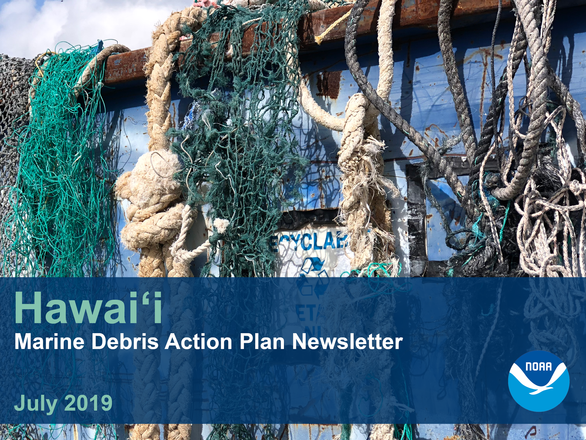 July newsletter header, derelict fishing nets hanging over bin.