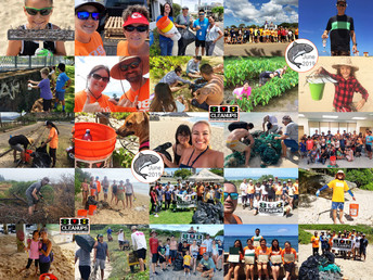 Collage of 808 Cleanup volunteers at beach cleanups.