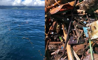 A line of debris in the ocean and a neuston sample of that debris.