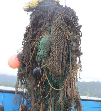 Large derelict fishing nets removed from Kaneohe Bay.