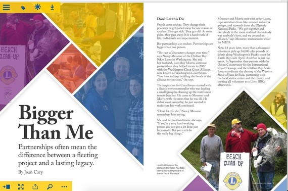 Lions Club magazine spread on an article about partnerships.