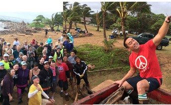 The Mayor of Kaua'i posed with beach cleanup volunteers before a community work day.