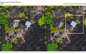 Two models showing detected debris.