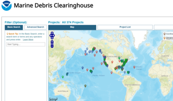 A map of projects across the country on the Marine Debris Clearinghouse webpage.