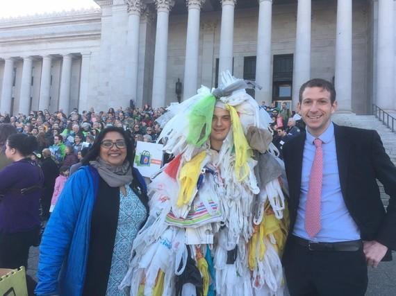 A Zero Waste Washington volunteer dresses up in plastic bags as Bagmonster.