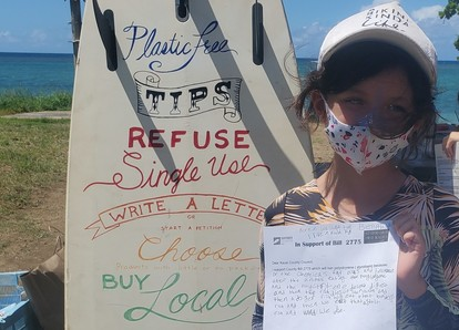 Campers wrote letters of support to Kauai County Council in support of Bill 2775 (Credit: Surfrider Kaua'i).