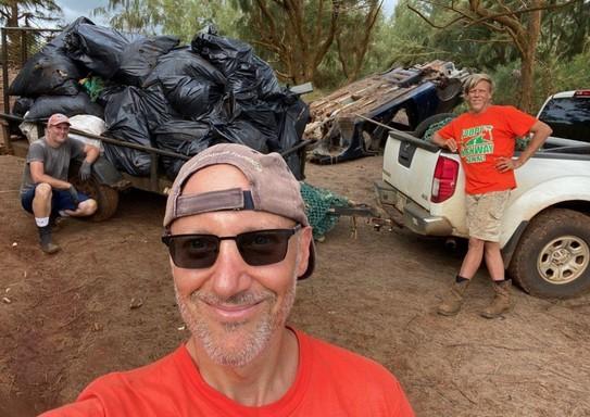 Volunteers with removed debris.