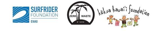 Logos for Surfrider Foundation O'ahu, Zero Waste O'ahu, and Kokua Hawai'i Foundation.