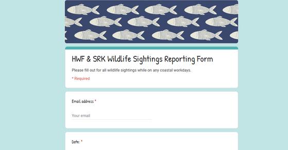 Google form to report wildlife sightings.