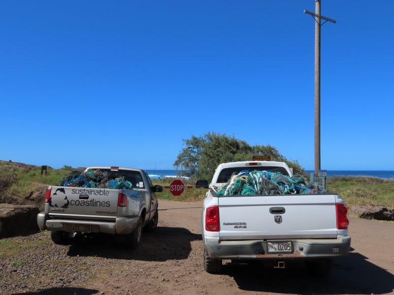 Removed derelict fishing nets loaded in the back of two trucks.