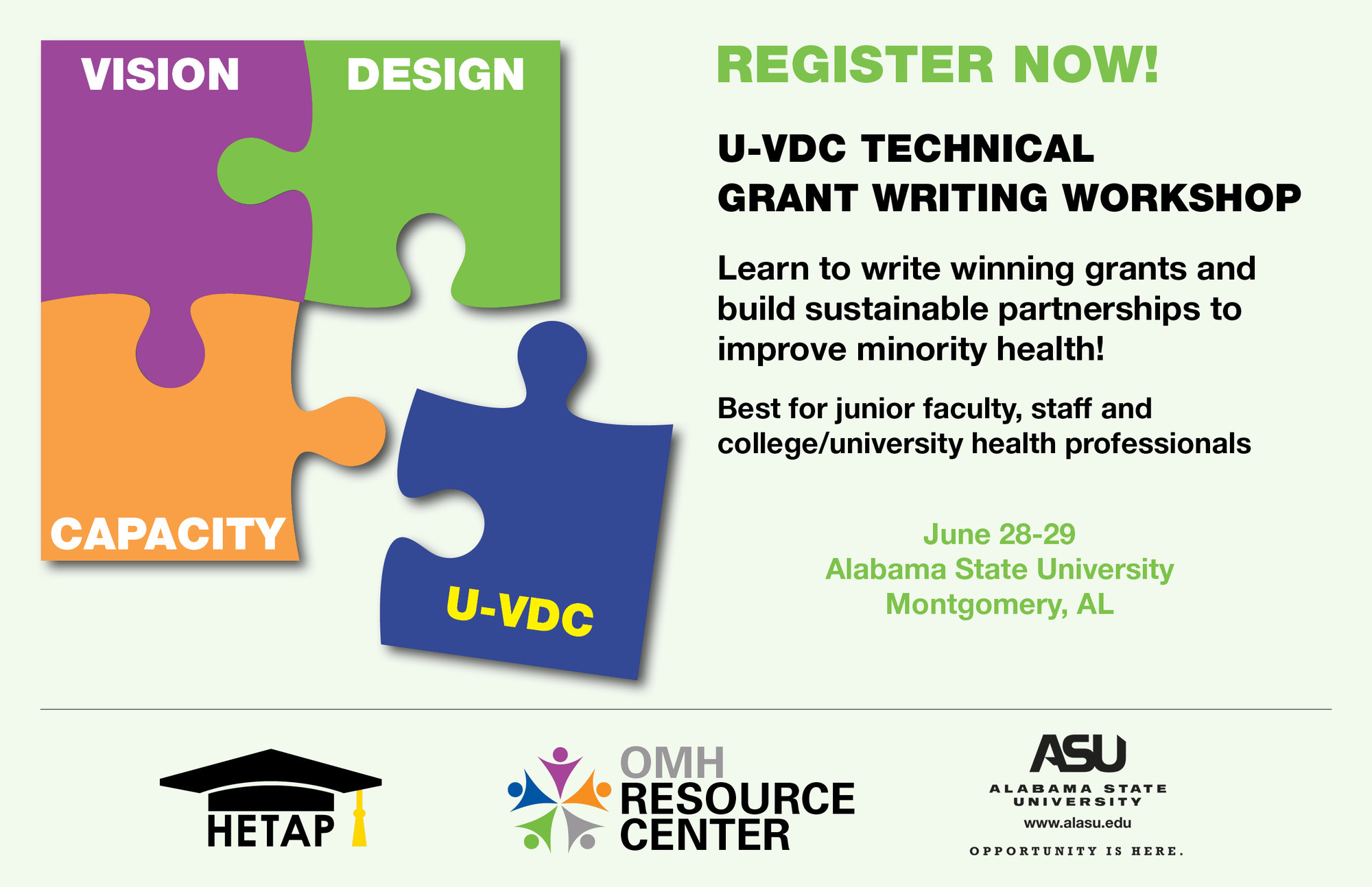 Vision Design Capacity U-VDC Technical Grant Writing Workshop June 28-29 Alabama State University Montgomery AL Click to Register Now