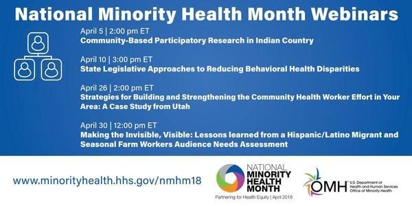 National Minority Health Month 2018 Webinars