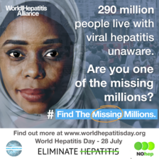 290 million people live with viral hepatitis unaware. Are you one of the missing millions? #FindTheMissingMillions