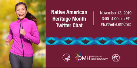 Native American Heritage Month Twitter Chat. November 13, 3-4 pm ET. #NativeHealthChat