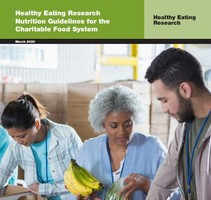 Cover for the Healthy Eating Research Nutrition Guidelines for the Charitable Food System report