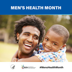 Men's Health Month. Image shows a young Black father and his young son.